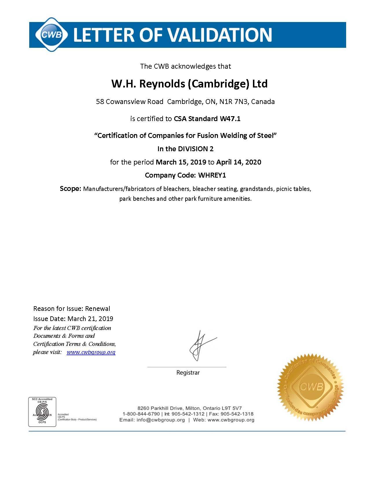 W.H. Reynolds (Cambridge) Ltd. - CWB Letter of Validation 2019-2020